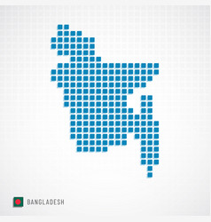 bangladesh map and flag icon vector image