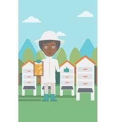 Bee-keeper at apiary vector