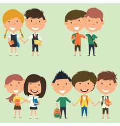 Best friends school boys and girls vector image