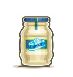 Big jar mayonnaise vector