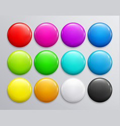 big set colorful glossy badge or button vector image