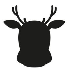 Black and white reindeer head simple silhouette vector