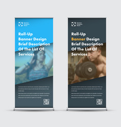 Blue and black roll-up banner design with place vector