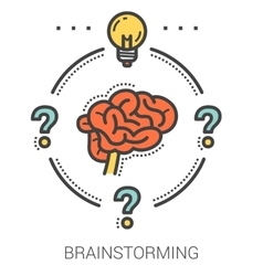 Brainstorming line infographic vector