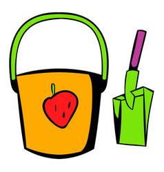 Bucket and shovel for childrens sandbox icon vector