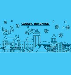 Canada edmonton winter holidays skyline merry vector
