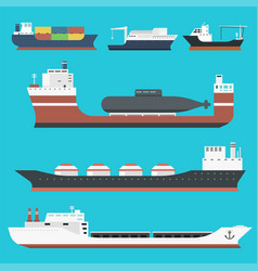 cargo vessels and tankers shipping delivery bulk vector image