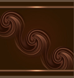 Chocolate background with swirl waves and gold vector
