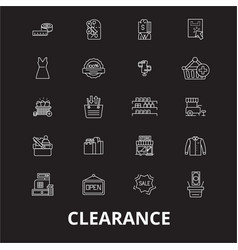 clearance editable line icons set on black vector image