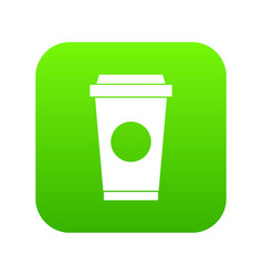 coffee in take away cup icon digital green vector image