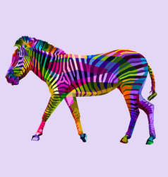 colorful walking zebra on geometric abstract vector image