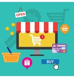 Concepts online shopping and e-commerce vector