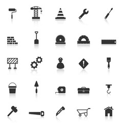 Construction icons with reflect on white vector image