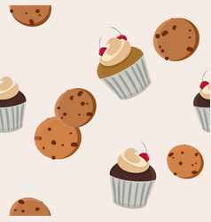 cookies and cupcake seamless pattern vector image