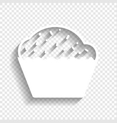 cupcake sign white icon with soft shadow vector image