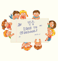 Cute little kids show a blank exercise book vector