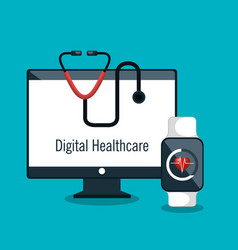digital healthcare service medical isolated vector image