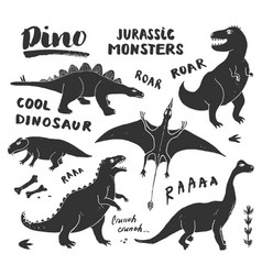 dino doodles set cute dinosaurs sketch and vector image
