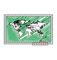 Doodle global map with locations symbols vector