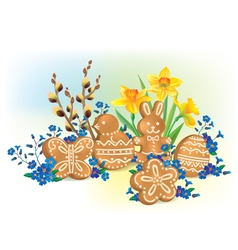 easter composition cookies and flowers vector image
