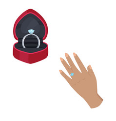 engagement ring in box and on hand vector image