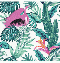 Exotic bird pink flamingo leaves seamless white vector