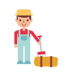 Farmer character with straw block vector