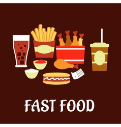Fast food snacks and drinks set in flat style vector