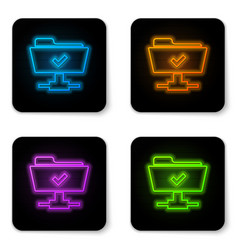 glowing neon ftp operation successful icon on vector image