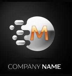 gold letter m logo silver dots splash vector image