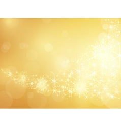 Golden sparkling star and snowflake border vector image