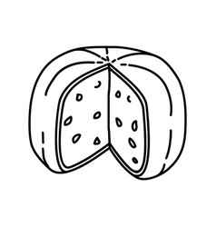 Gouda holland cheese icon doodle hand drawn or vector
