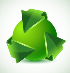 green recycling arrows and green earth vector image