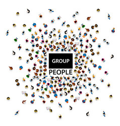 group big people crowd on white background vector image