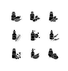 Hair oils black glyph icons set on white space vector