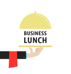 Hand with cloche like business lunch vector