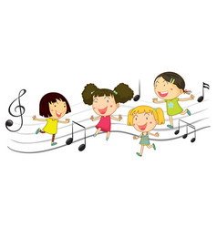 Happy children dancing with music notes in vector