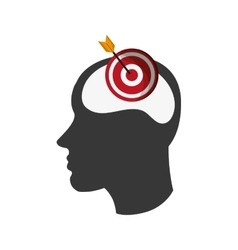 Head silhouette profile and bullseye icon vector