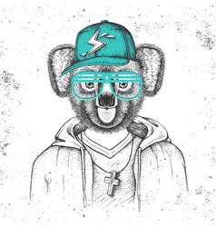 Hipster animal koala dressed in cap like rapper vector