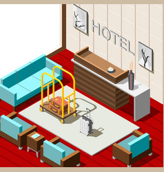 Hotel reception isometric background vector