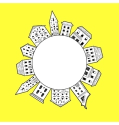 Houses Round Border Yellow vector