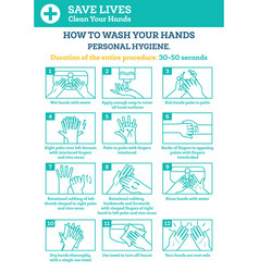 how to wash your hands step step infographic vector image