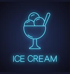 ice cream in bowl neon light icon vector image