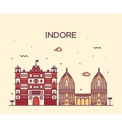 Indore skyline linear style vector image
