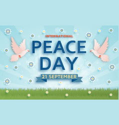International peace day background with doves vector
