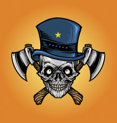 isolated axe skull with star hat vector image