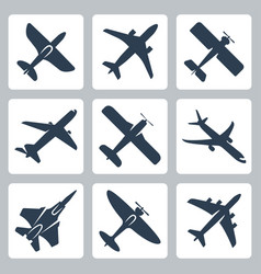 Isolated plane icons set vector