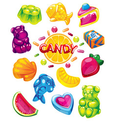 Jelly candy set vector