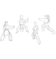 karate several positions vector image
