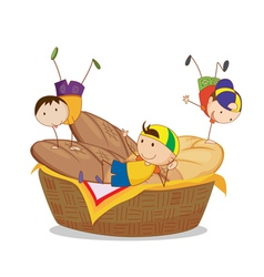 kids and bread vector image